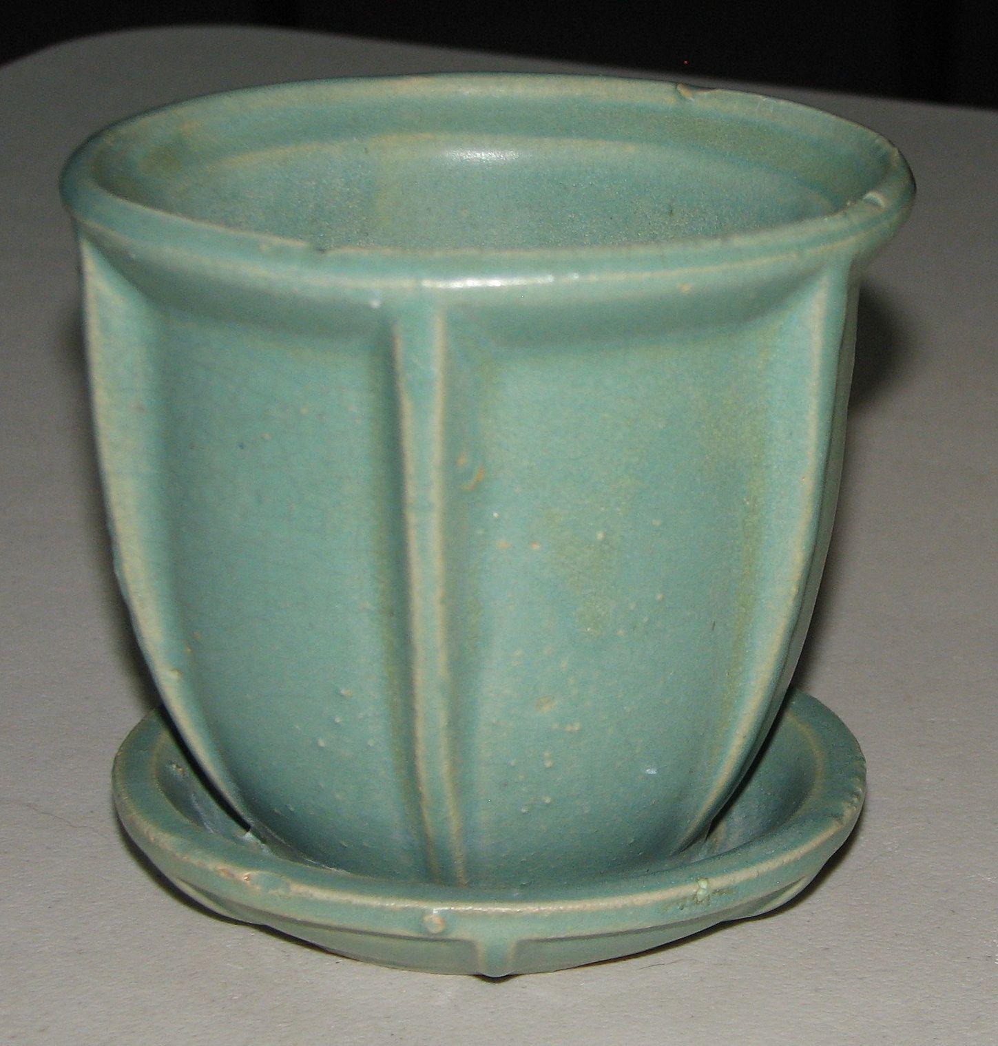 Mccoy Pottery Vintage Matte Green Fin Pot Amp Saucer Flower