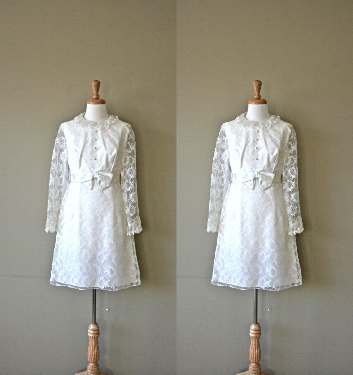 SALE 60s Wedding Dress / 1960s White Lace Shift Dress