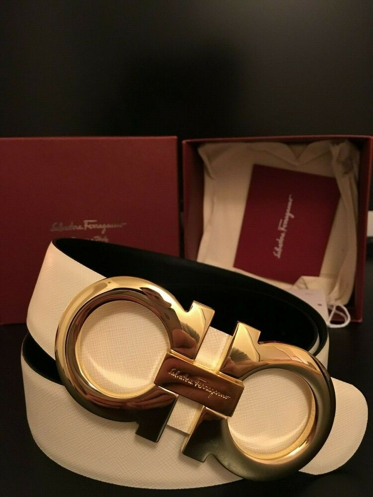 NWT Authentic White Salvatore Ferragamo Belt w/ Gold ...