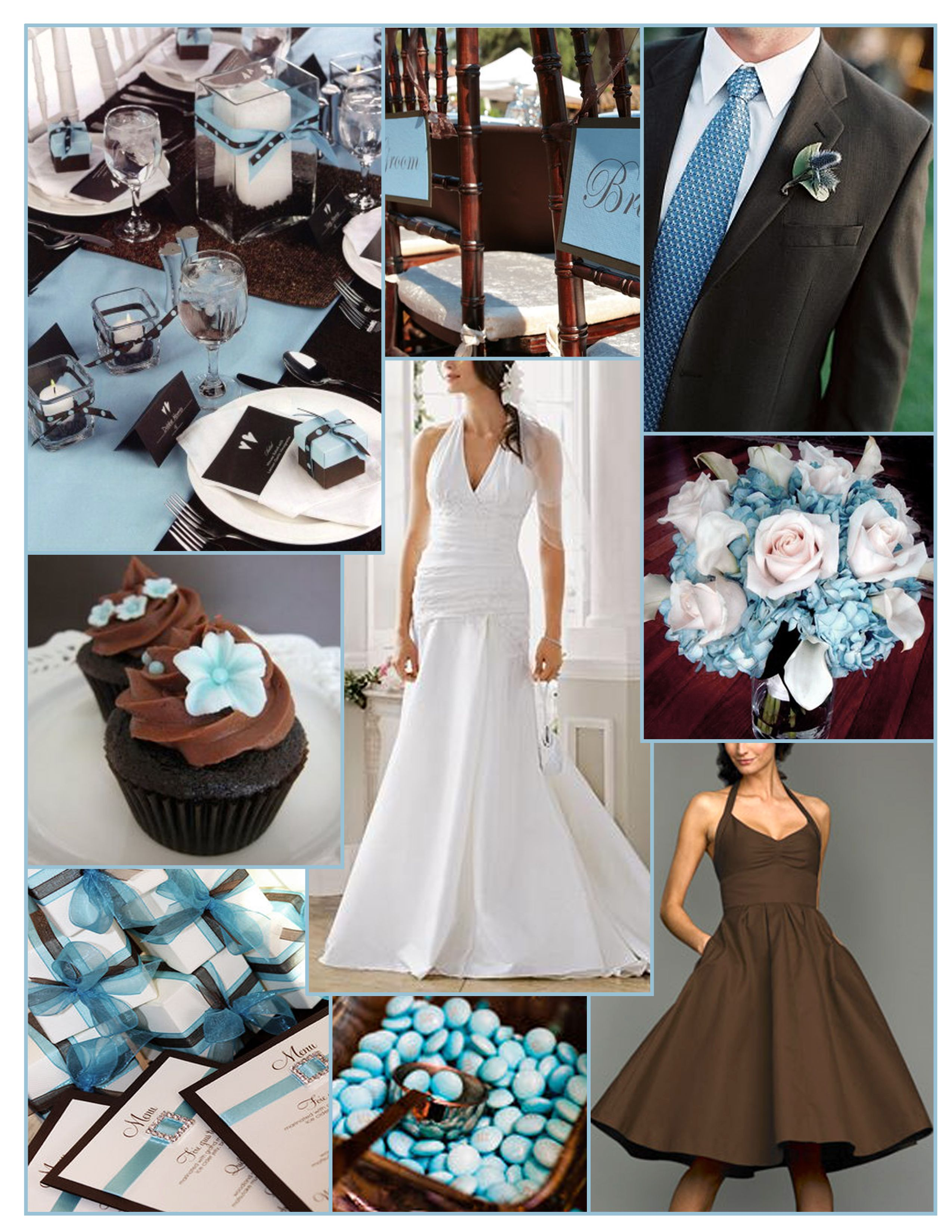Pin By Heather Taylor On Wedding Inspiration Blue Brown Wedding Brown Wedding Brown Wedding Themes
