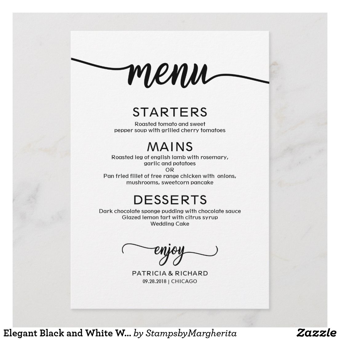 Elegant Black And White Wedding Menu Card A Simple Chic