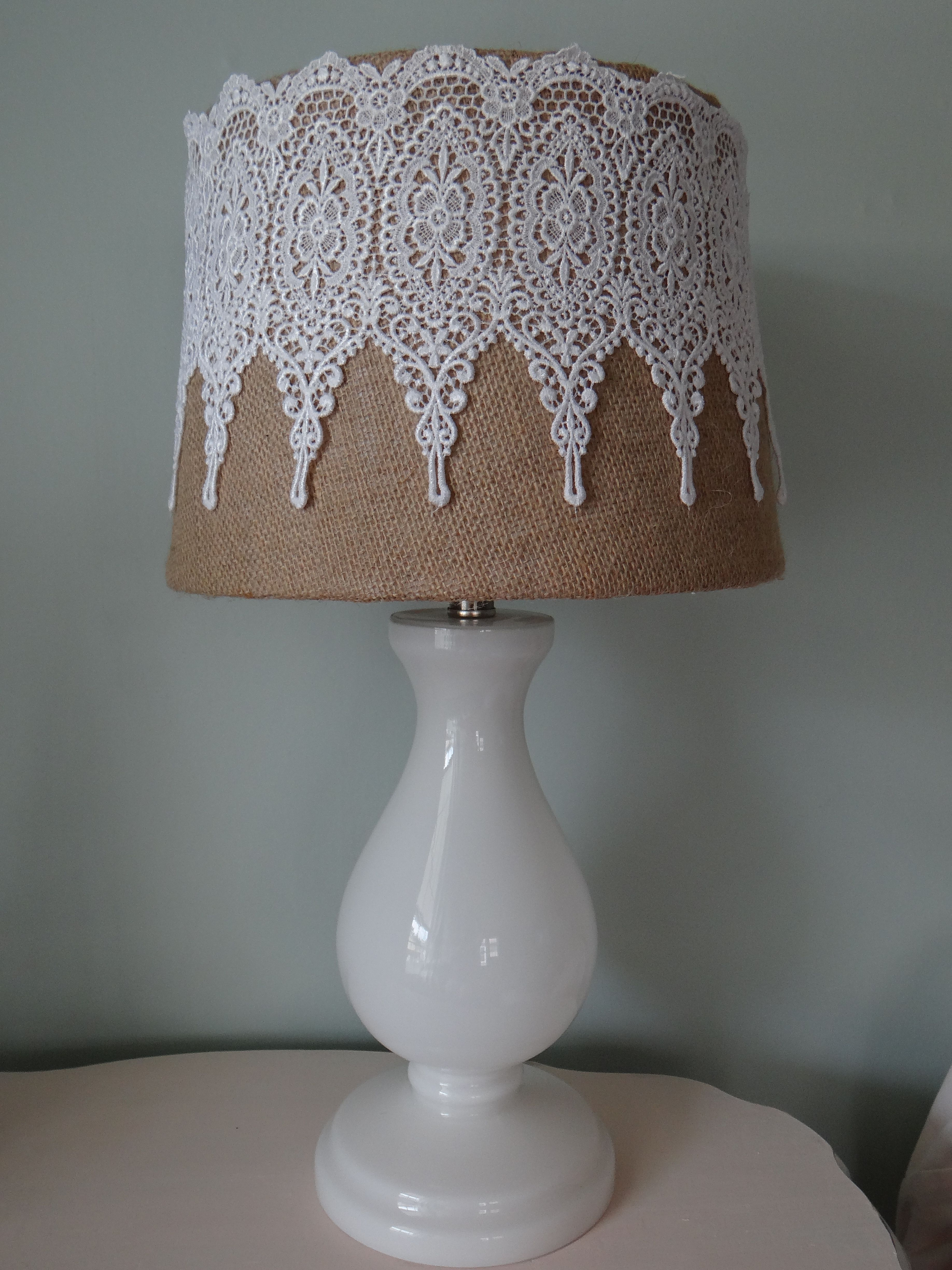 Burlap lace lampshade i made things i made pinterest for Burlap lights