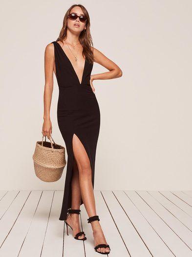 4c3577eb1a6b Petra black deep v neck maxi dress Reformation