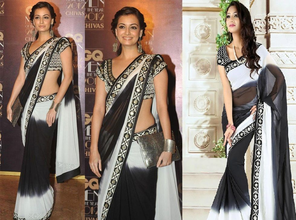 Look as hot as #Dia Mirza in this dual color #black and white #saree   Shop Here : http://www.cbazaar.com.my/party-wear-saree/enamored-with-georgettes/stunning-black-and-white-georgette-saree-p-sassd6101.html