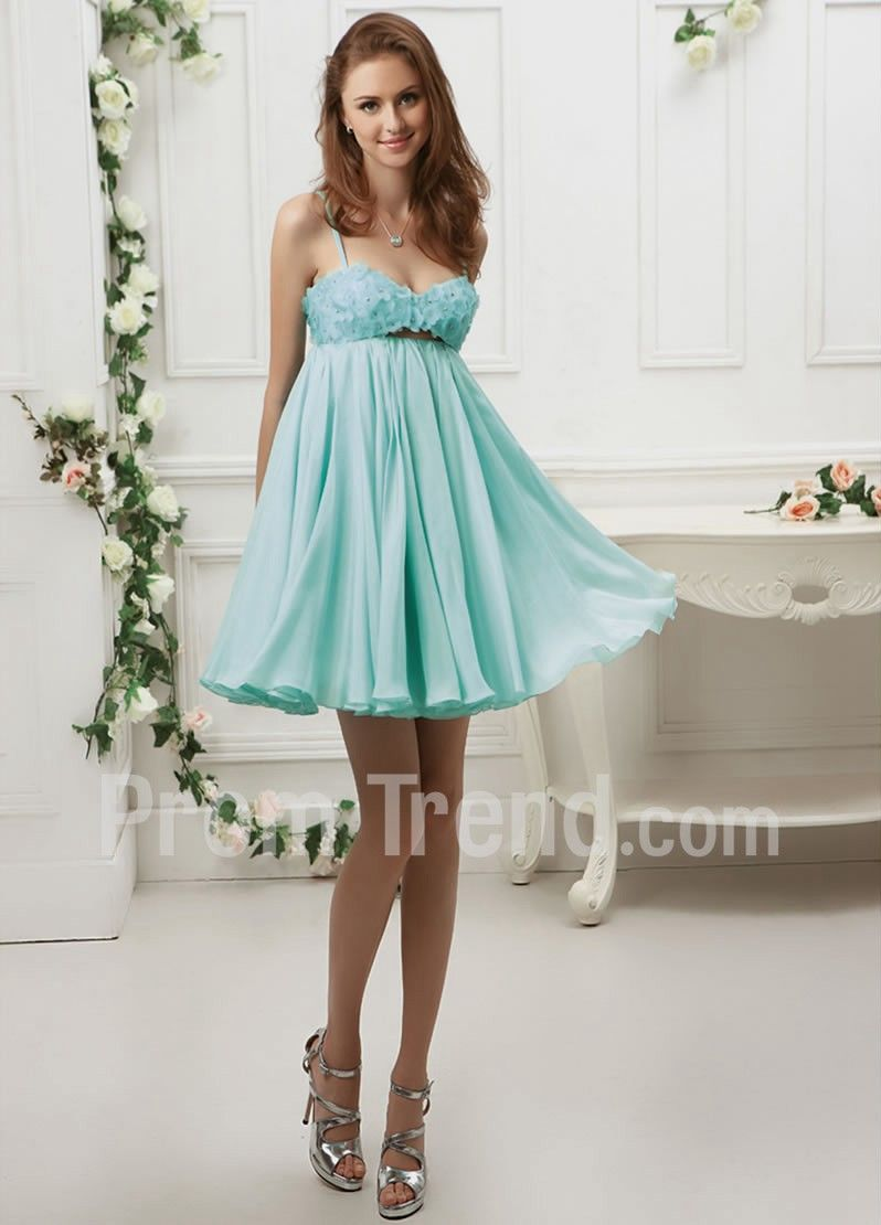 Spaghetti Knee-Length Silk and Organza Prom Dress - Promtrend.com