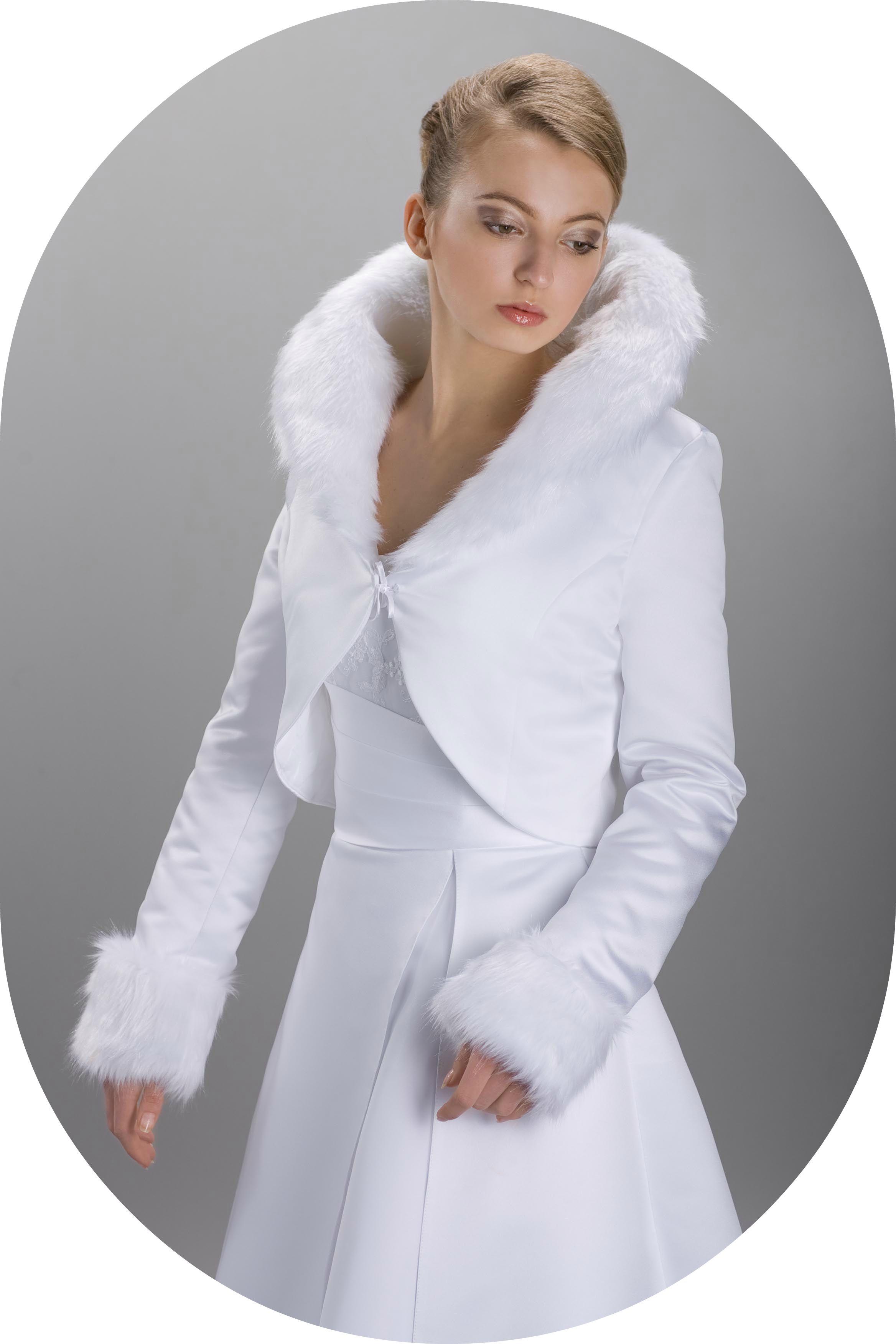 Winterbolero für die Braut / Brautjacke aus Satin zum Brautkleid ...