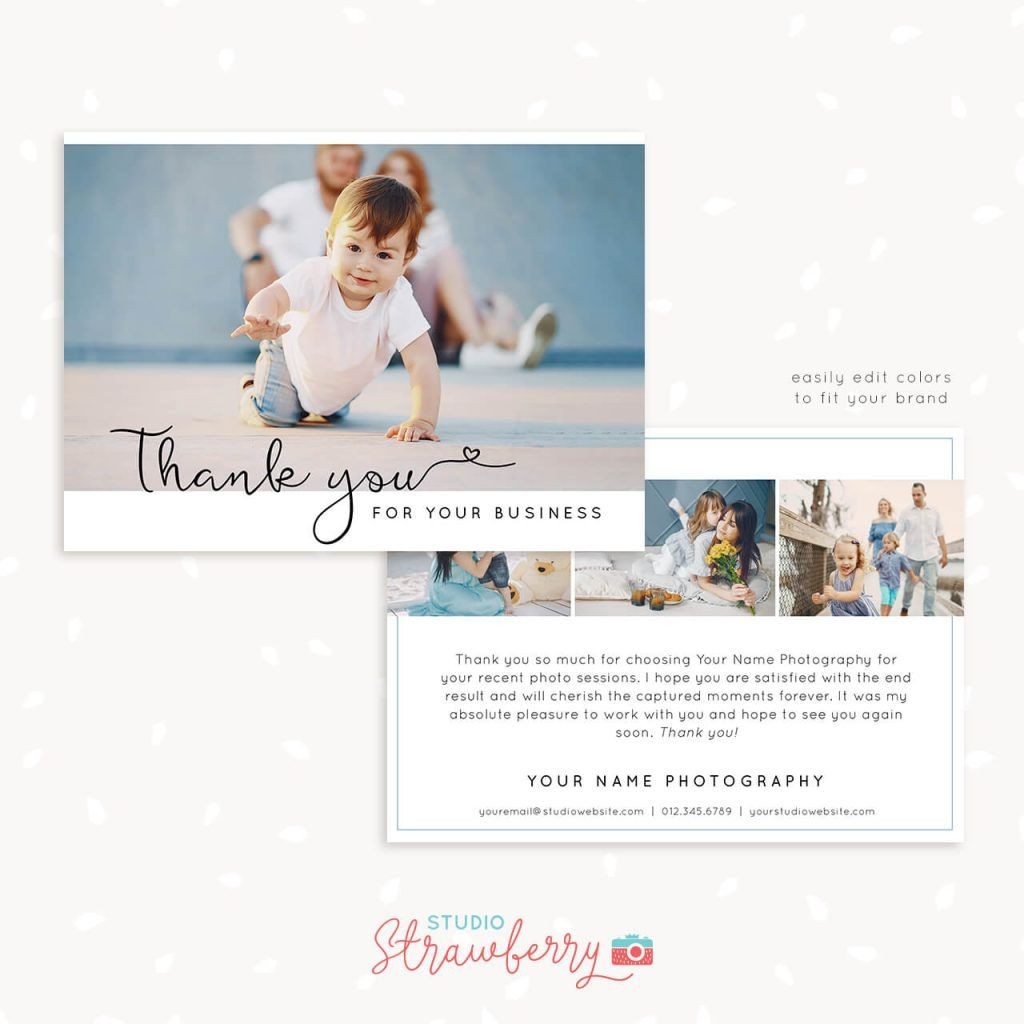 Thank You Note Card Template For Photographers Note Card Template Thank You Note Cards Thank You Card Template