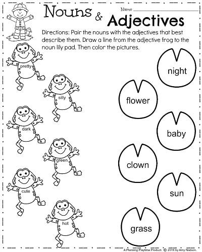First Grade Worksheets For Spring Planning Playtime First Grade Worksheets 1st Grade Reading Worksheets Nouns And Adjectives Pronoun worksheets first grade