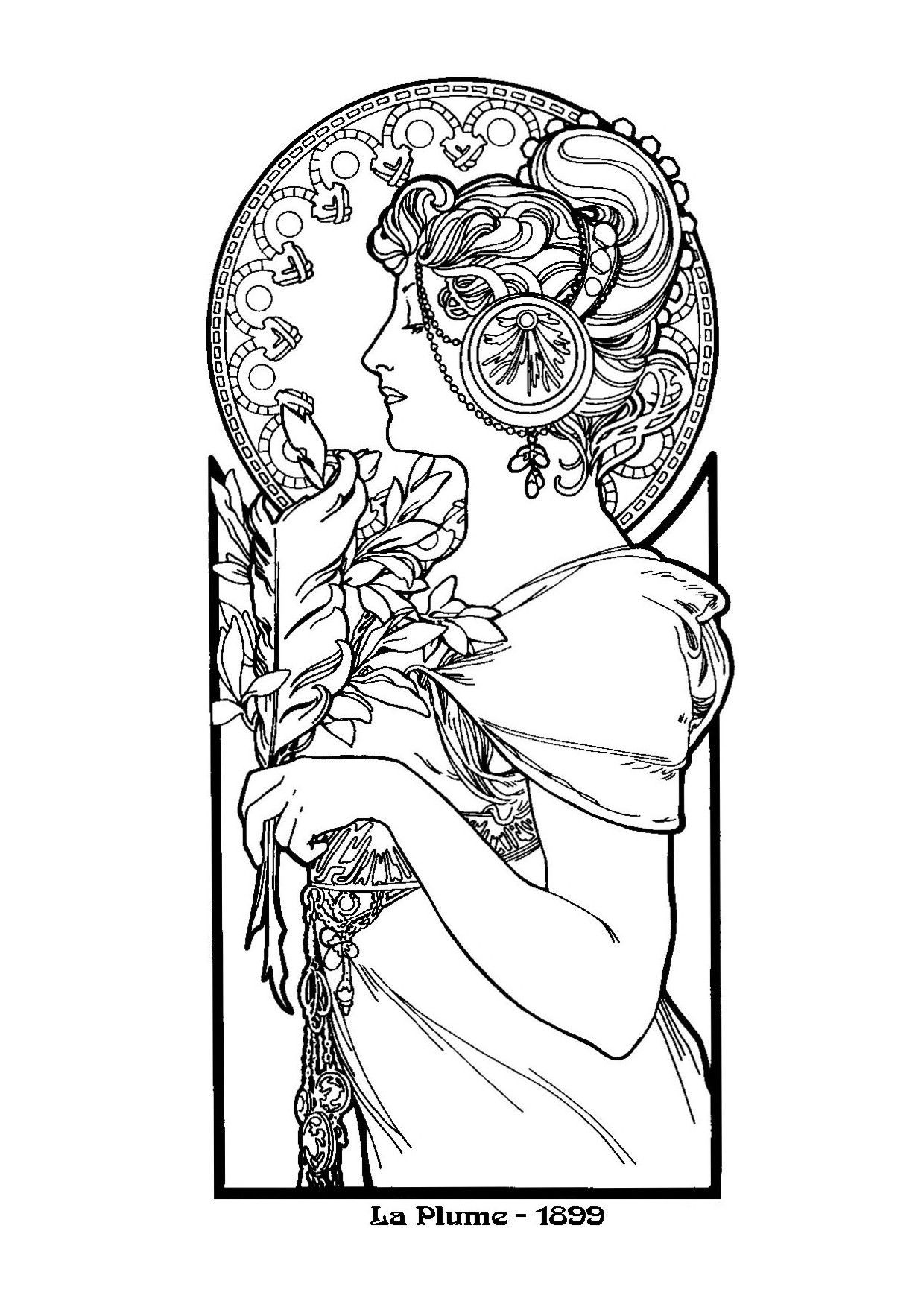 alphonse mucha art nouveau coloring pages for adults | Coloring ...