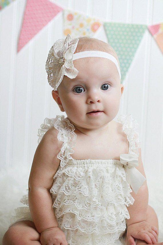 Ivory Lace Flower baby Headband 7ec8d00cbec