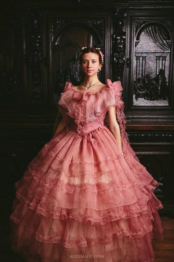 Bürgerkrieg Rose Kleid, 1860er Jahre Ballkleid in 2020 ...