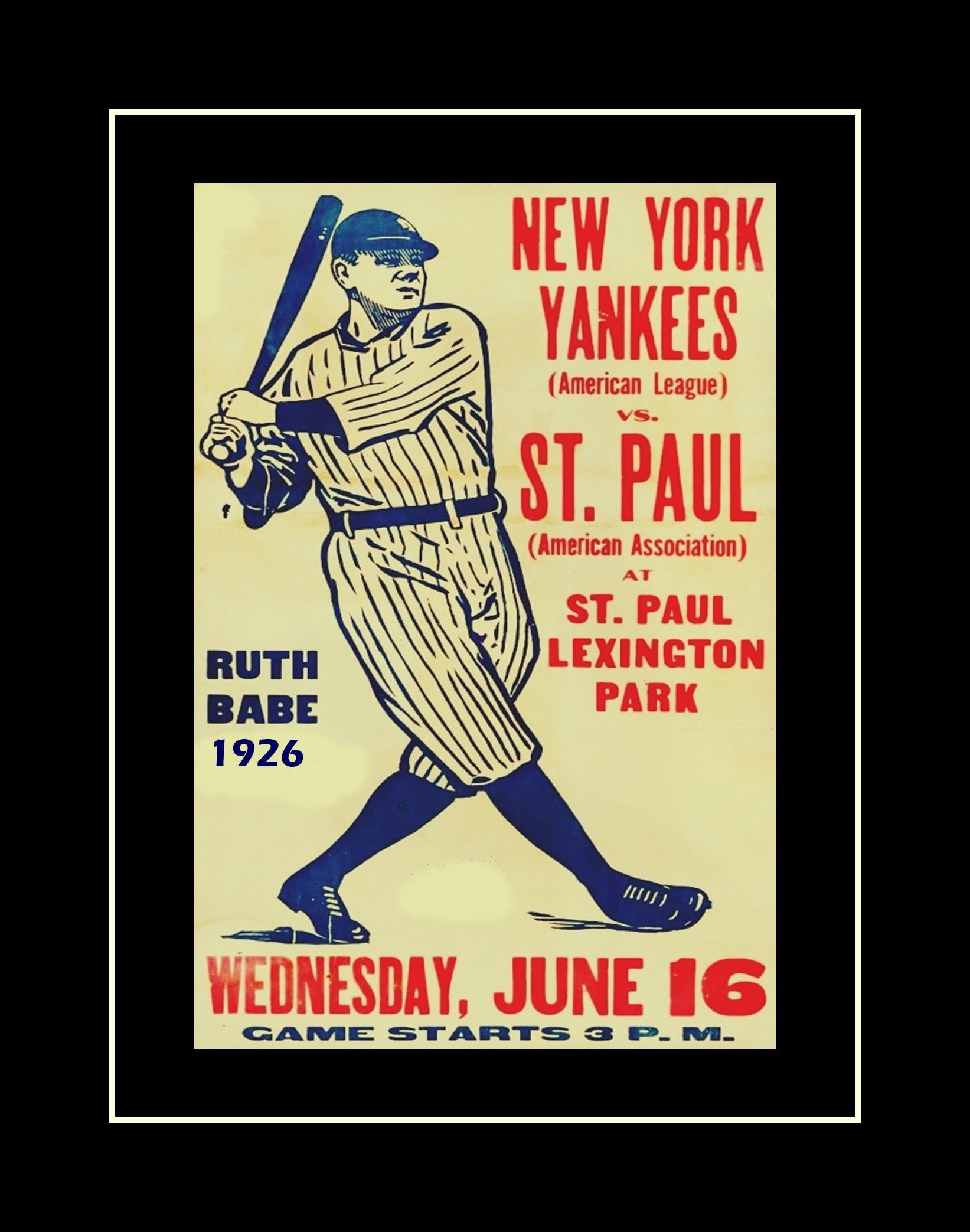 Vintage Baseball Poster, Babe Ruth Illustration Wall Art, New York ...