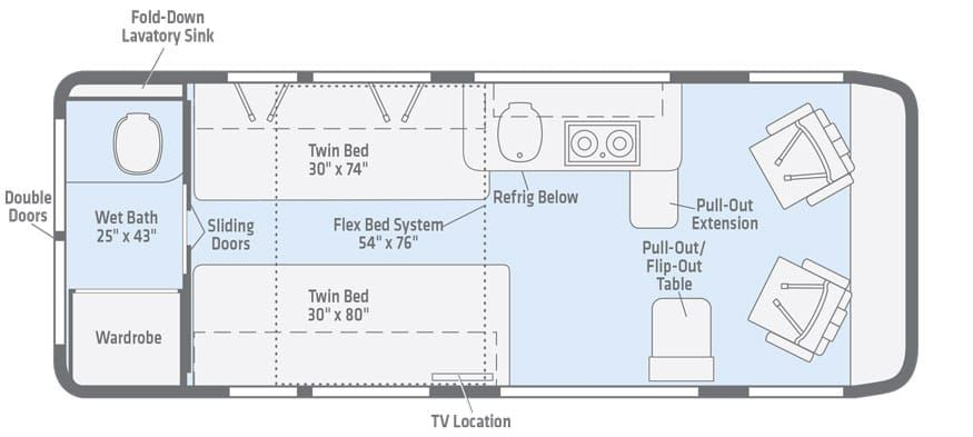 Travato Floorplans Winnebago Rvs Floor Plans Rv Floor Plans