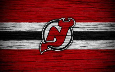 New Jersey Devils, 4k, NHL, hockey club, Eastern Conference, USA, logo, wooden texture, NJ Devils, hockey, Metropolitan Division