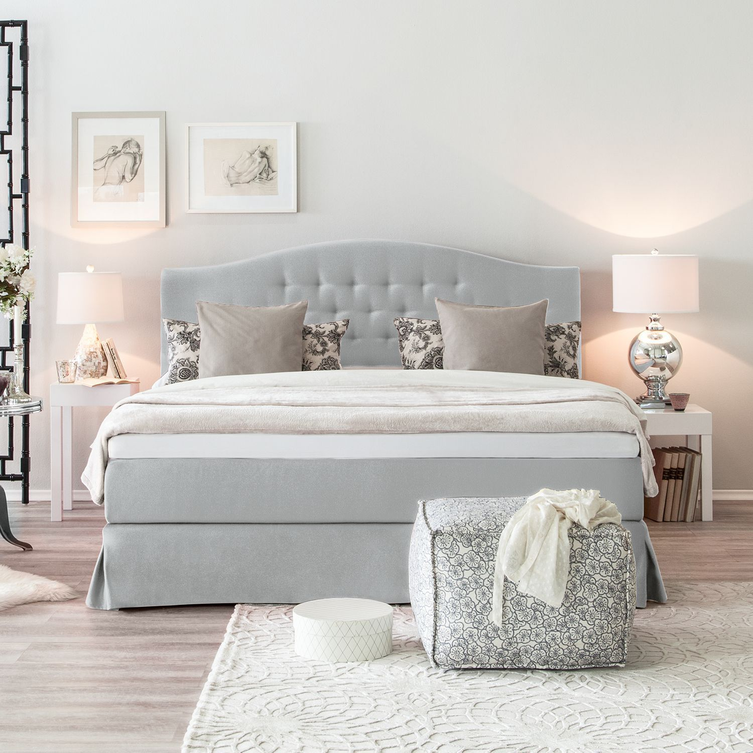 Maison Belfort Box Spring Bed La Chatre 140x200 Cm Fabric Light Gray With Mattress Top In 2020 Bed Kids Bed Canopy Bedding Master Bedroom