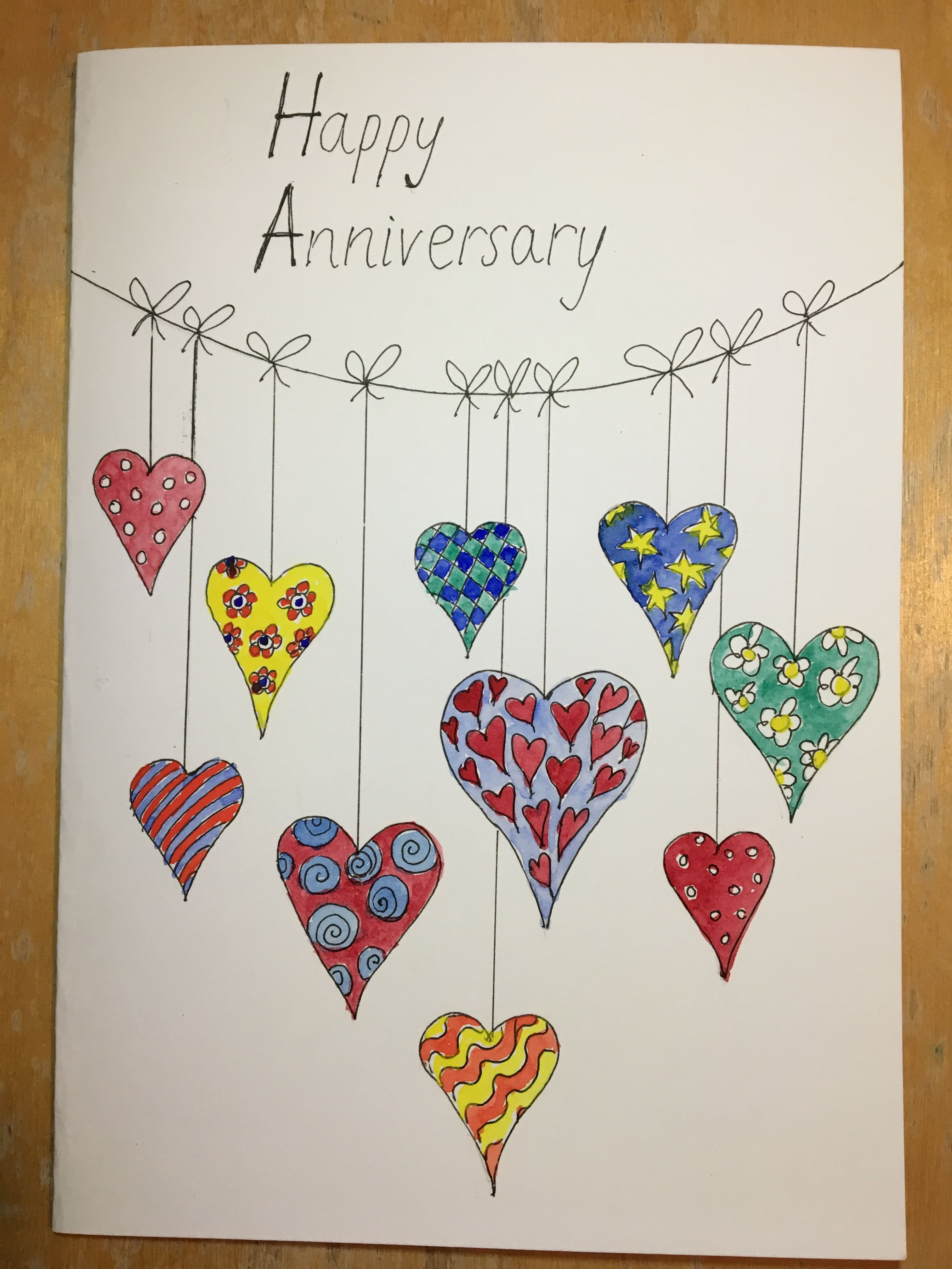 Anniversary Card Doodle Hearts Bunting Watercolour Filled Line