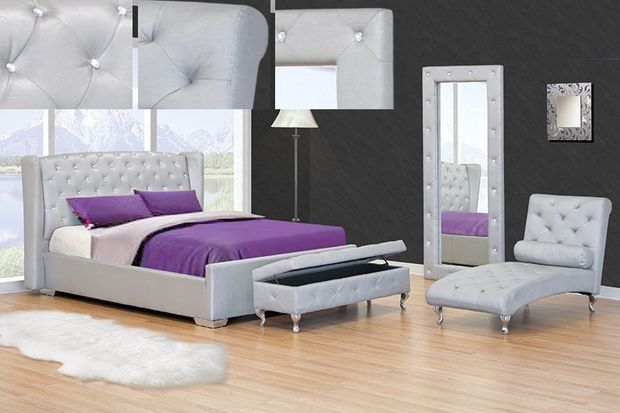 Ashton Ii Silver Finish Leather Like Vinyl Tufted Queen Bed Frame