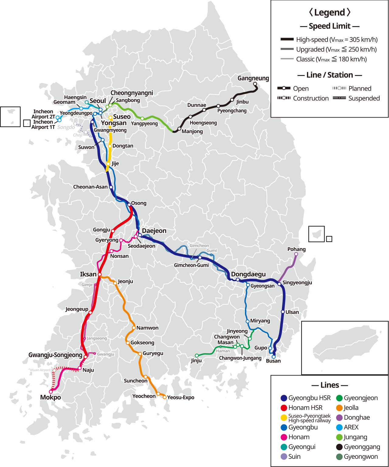 KTX linemap en - High-speed rail in South Korea – Travel guide at ...