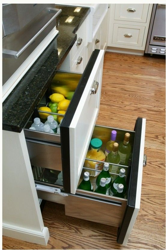 Under Counter Fridge For All The Fruits And Vegetables We Use For Our Daily Fresh Juices Eclectic Kitchen Design Eclectic Kitchen Refrigerator Drawers