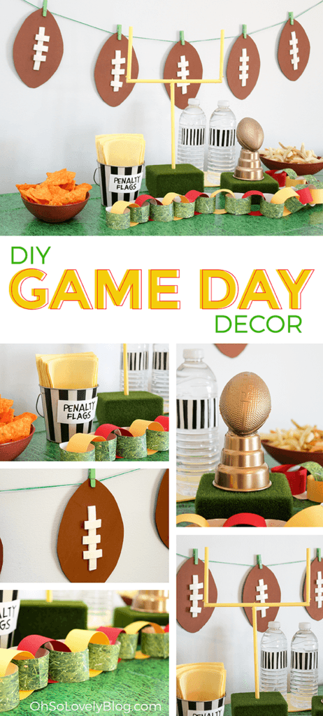 Diy Superbowl Party Decor Easy And Affordable Ideas For Your Party Superbowl Party Decorations Super Bowl Football Party Diy Super Bowl