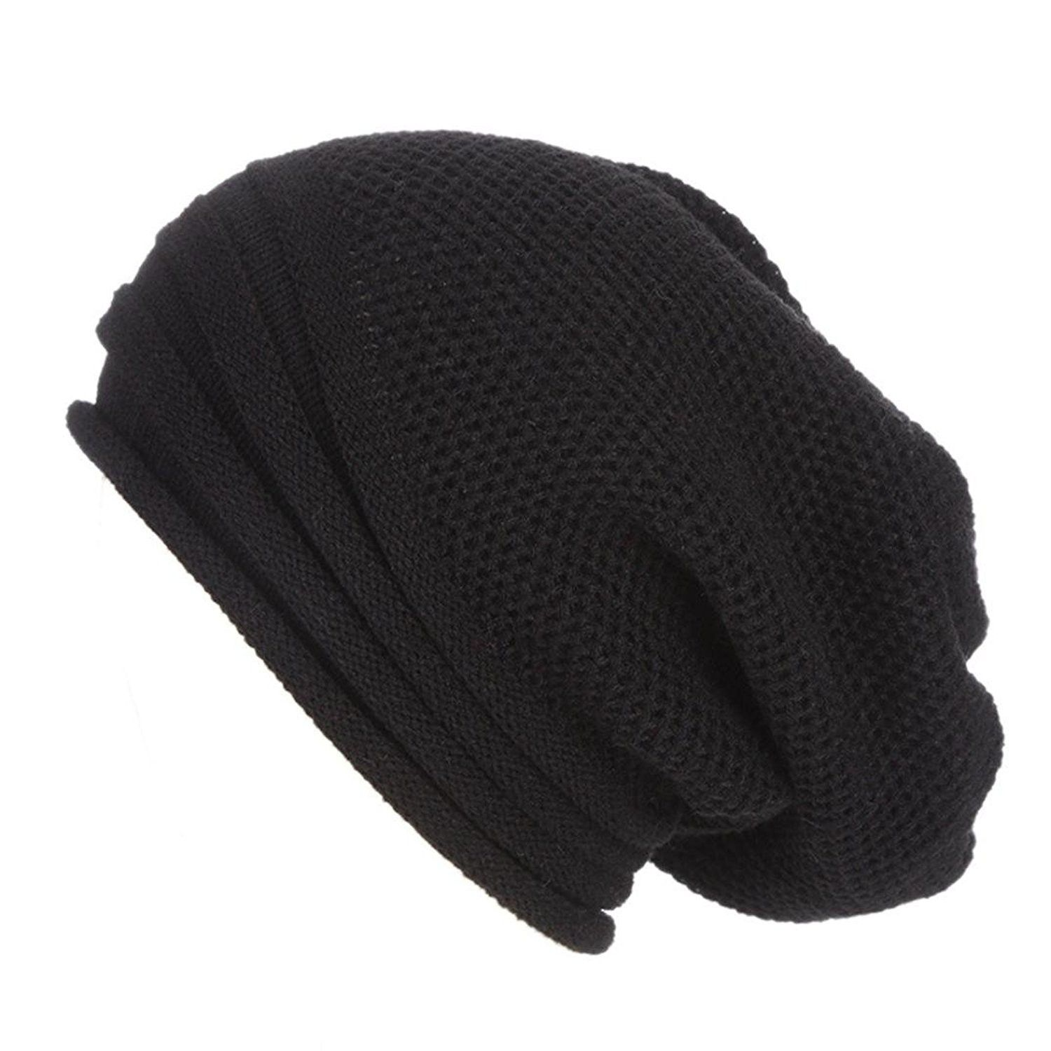 d6848f6c022 Womens Hat Winter- Unisex Warm Chunky Stretch Cable Knit Slouchy Baggy Beanie  Hat Skull Cap