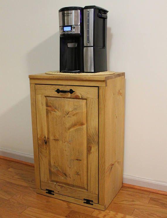 Wooden Tilt Out Trash Can   Trash Bin   Wood Trash Box   Cabinet To Hide