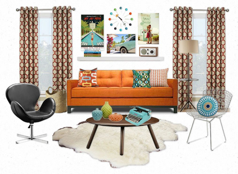 Mid-century modern decorating ideas for various rooms, via ...