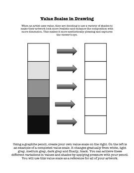 value scale gradient visual art class worksheet handout worksheets scale and drawings. Black Bedroom Furniture Sets. Home Design Ideas