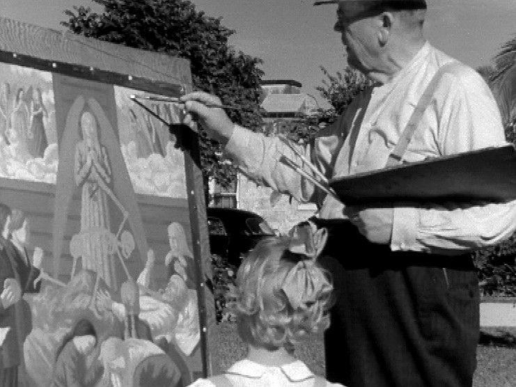 Taidemaalari Juho Rissanen maalaa Miamissa (1947). – Kuva: Filmiseppo / Yle.  Sydämeni laulu puki kuviksi amerikansuomalaisten hymyn ja työn   Elävä arkisto   yle.fi