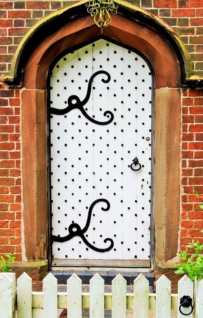 White door with unique hinges in Great Budworth Cheshire England. & Great Budworth Cheshire   Doors Portal and Unique pezcame.com