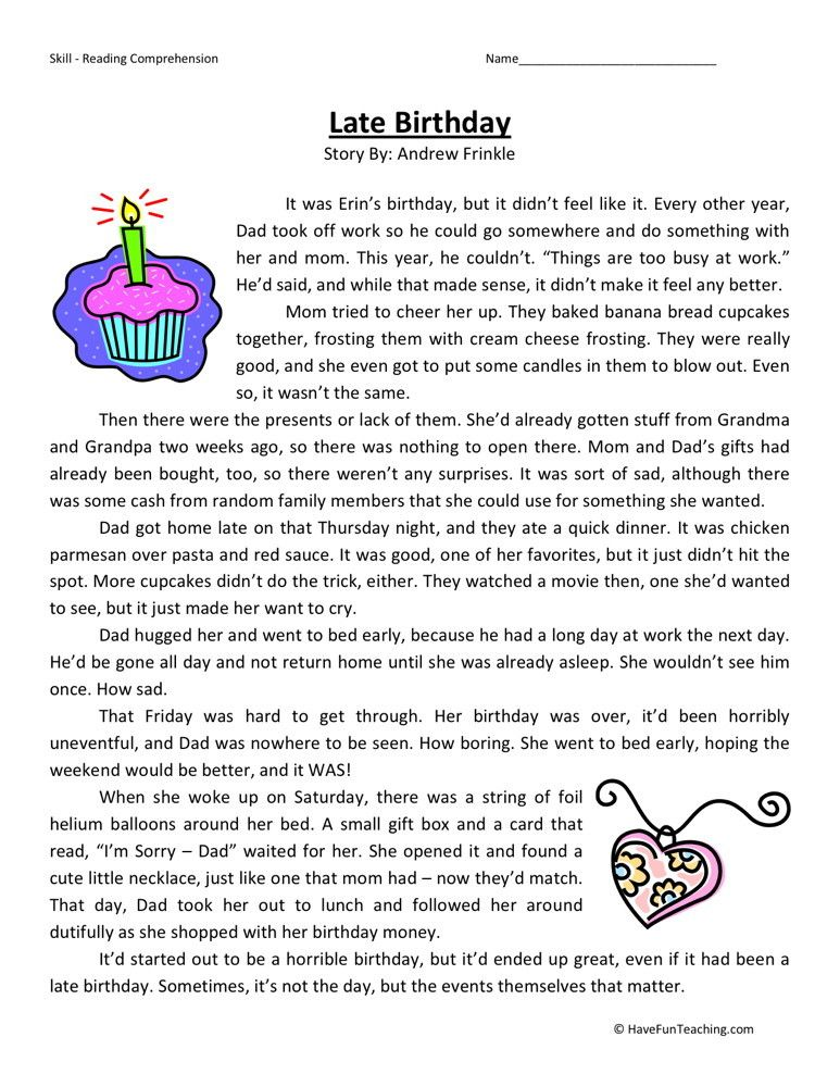 Reading Comprehension Worksheet Late Birthday Reading