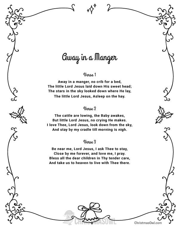 photograph relating to Lyrics to Away in a Manger Printable called Pin by way of Muse Printables upon Xmas Printables at