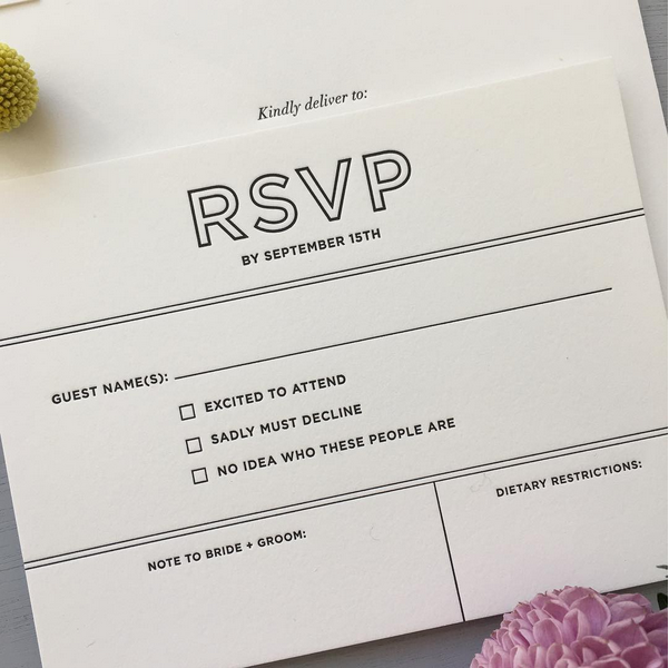 Black letterpress rsvp card for a modern wedding at the bowery hotel nyc new york city for Rsvp card ideas