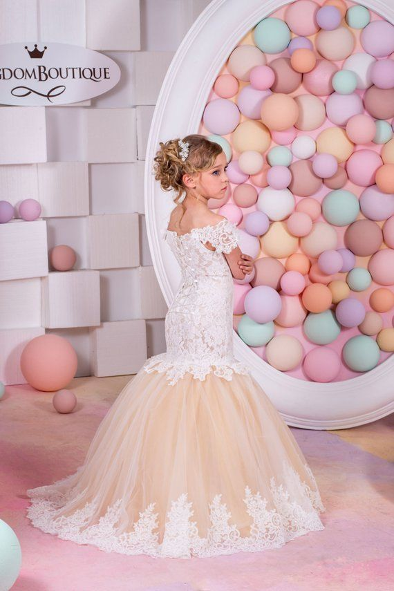 Ivory and Cappuccino Flower Girl Mermaid style Dress -Wedding Party  Bridesmaid Mermaid Style Lace Tu 31417ec965ed