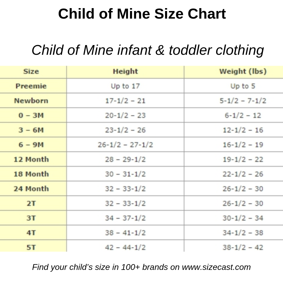 Child Of Mine Size Chart Baby Clothes Size Chart Baby Clothing Size Chart Kids Clothes Size C Baby Clothes Size Chart Baby Clothes Sizes Size Chart For Kids