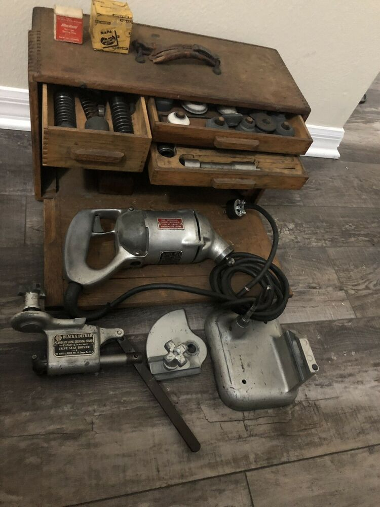 Ebay Advertisement Vintage Black Decker Vibro Centric Valve Seat Grinder Kit W Dressing Stand Black Decker Vintage Tools Vintage Black