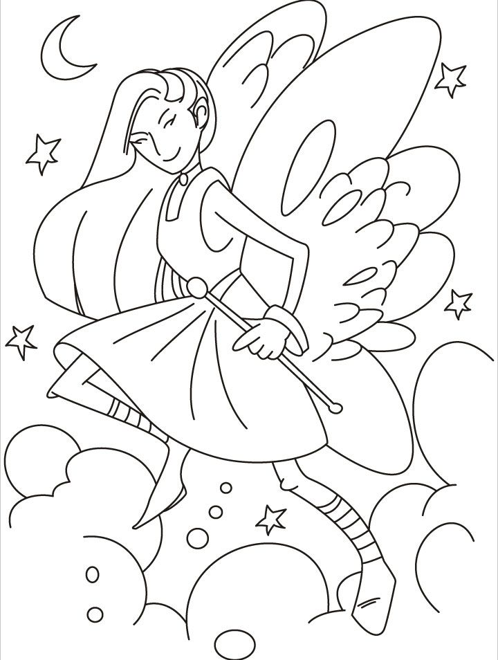 Dancing Fairy With Her Pretty Wings And Magic Wand Coloring Pages Fairy Coloring Pages Pretty Wings Fairy Coloring