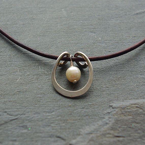 Photo of Leather and Pearl Necklace, Pearl Necklace, Silver Pendant with Pearl, Single Pearl Necklace, Dainty Silver Pendant Necklace