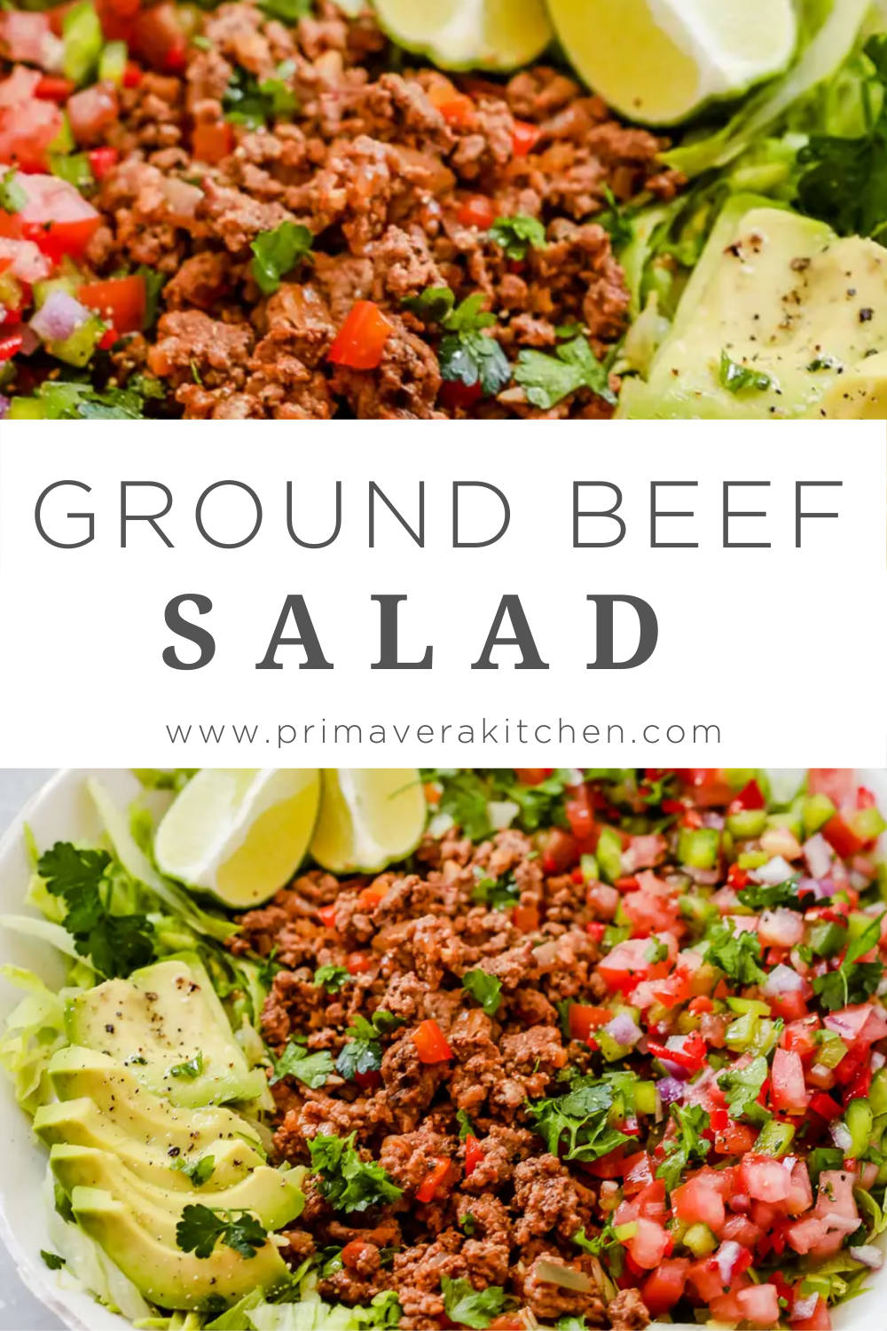 Ground Beef Taco Salad Low Carb Whole30 Paleo Gluten Free In 2020 Healthy Meat Recipes Healthy Spring Recipes Healthy Meats