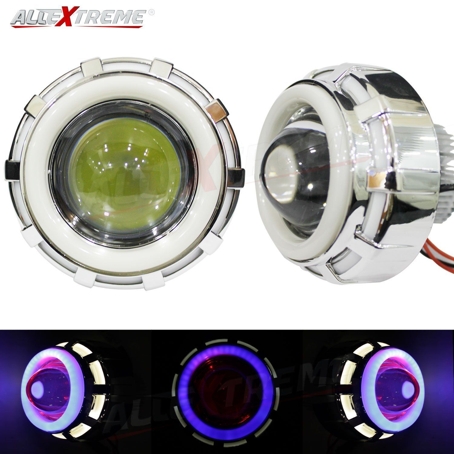 Allextreme Exdrpwb1 High Intensity Led Projector Lamp Stylish Dual Ring Cob Led Headlight With Hi Low Beam And Flas In 2020 Led Projector Led Headlights Projector Lamp