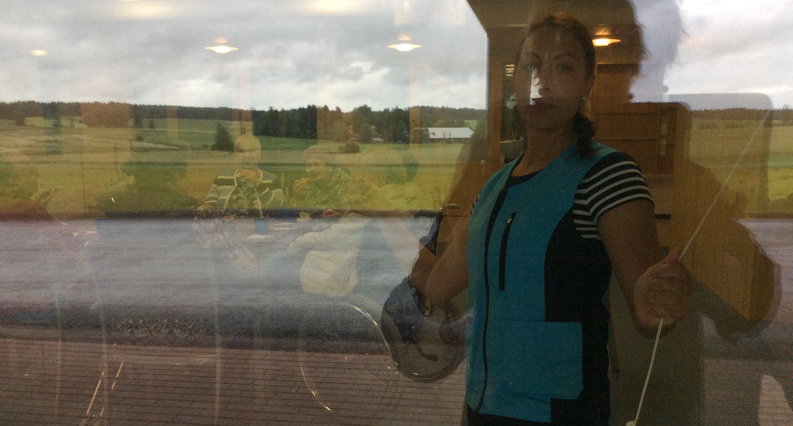 Ruudun takaa...joskus epäonnistunut kuva on huikea... Huomaa ikkunan heijastuksena Raipalan kansallismaisema.