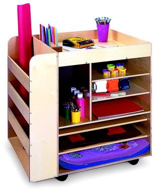 SCHOOL SPECIALTY CANADA Whitney Brothers Rolling Art Cart, 30 In H X 24 In  W X 24