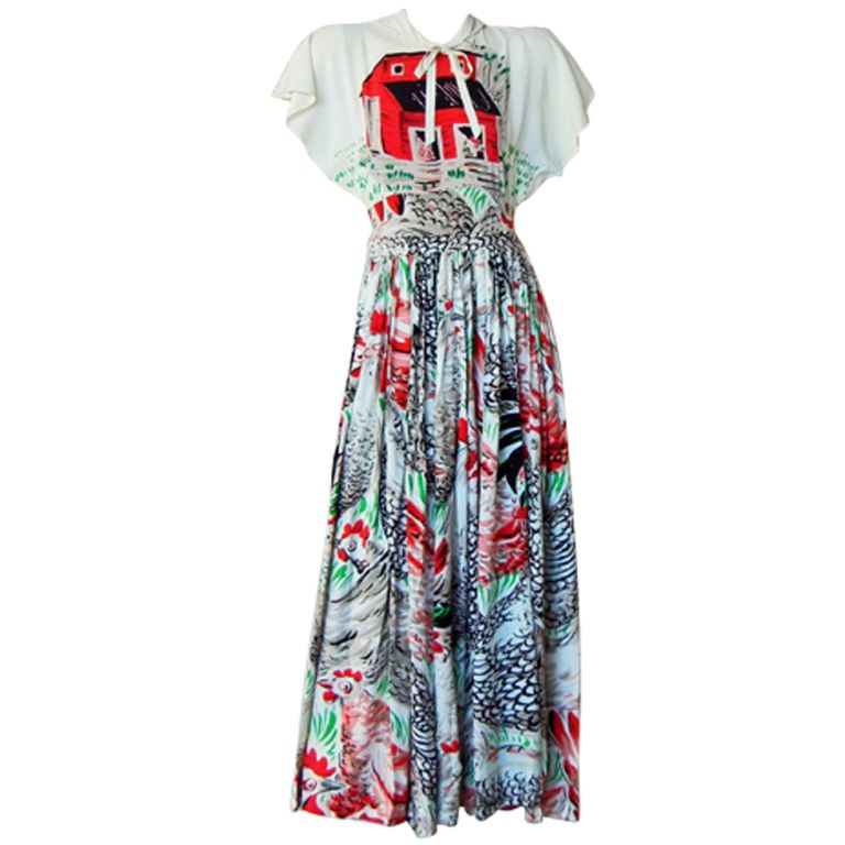 """Rare Adrian """"The Egg and  I"""" Henhouse Print Silk Dress 