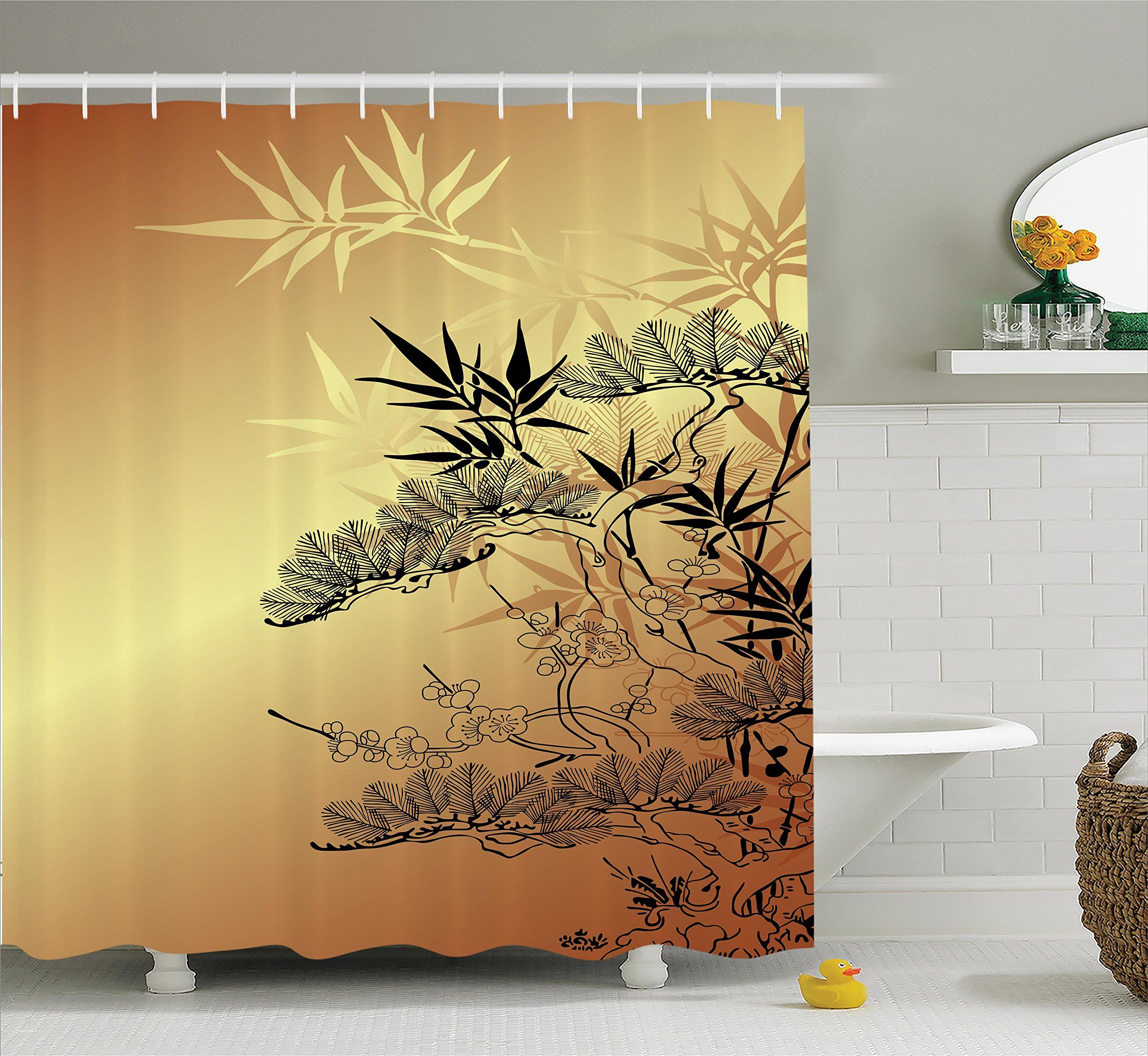 Ambesonne Japanese Decor Shower Curtain Set Asian Style Branches And Bamboo Motifs With Showy Fragrant Leaves Nature Illustration Bathroom Accessories 69W X