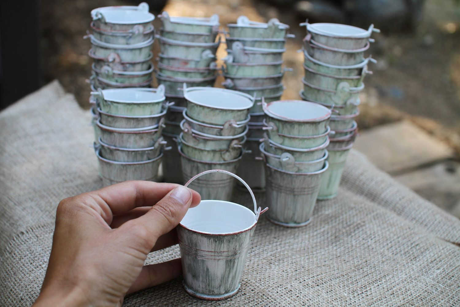 25 CUSTOM Mini Water-pails, vintage, rustic look hand painted. Plant a seed, fill with candy or a tea light. $50.00, via Etsy.