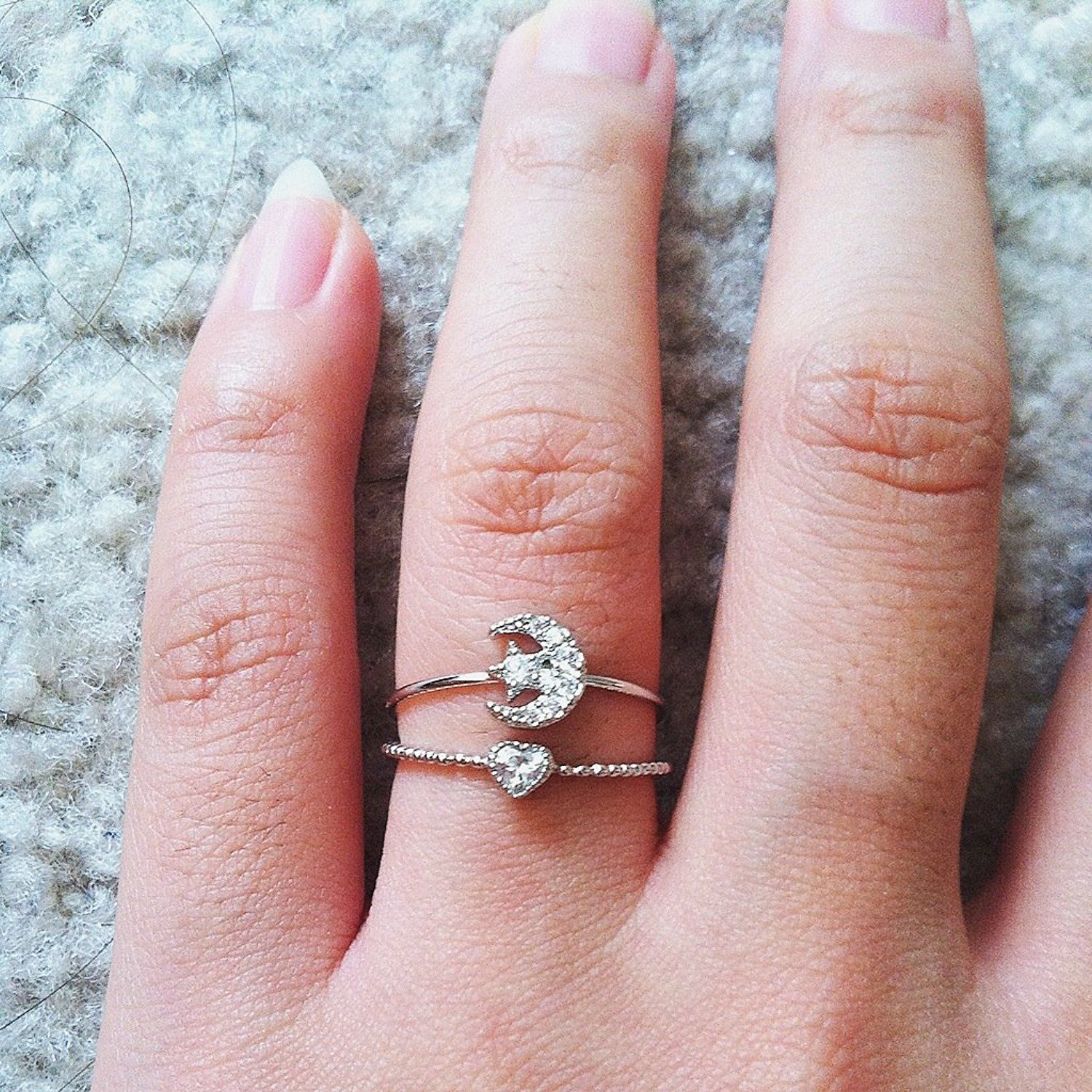 Amazon.com: 18K Crystal Moon and Star Pinky Ring on Extra Thin Band ...