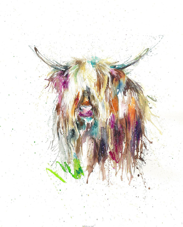 Wildlife,Animal,Art Highland Cow Watercolour Print Sale,Original Card Gift