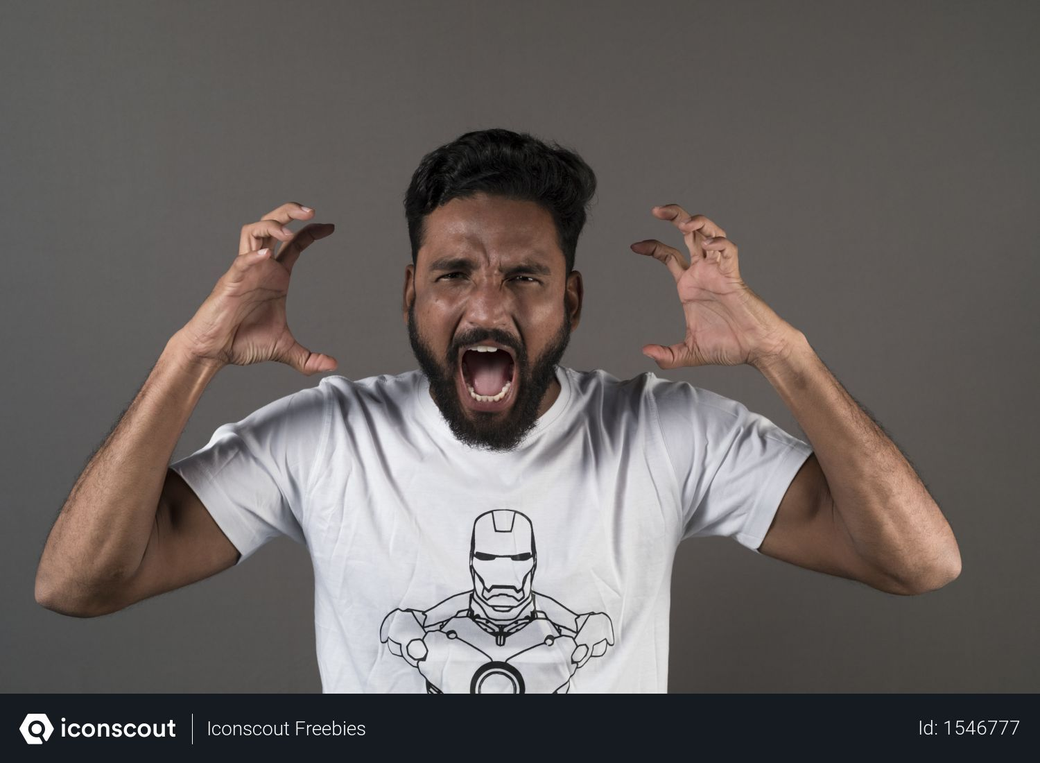 Free Angry Man Wearing White Tshirt And Showing Expressions Against Grey Background Photo Download In Png Jpg Format Gray Background How To Wear Menswear