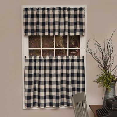 Heritage Lace Buffalo Check 30 Inch Kitchen Window Curtain Tier In Navy With Images Buffalo Check Curtains