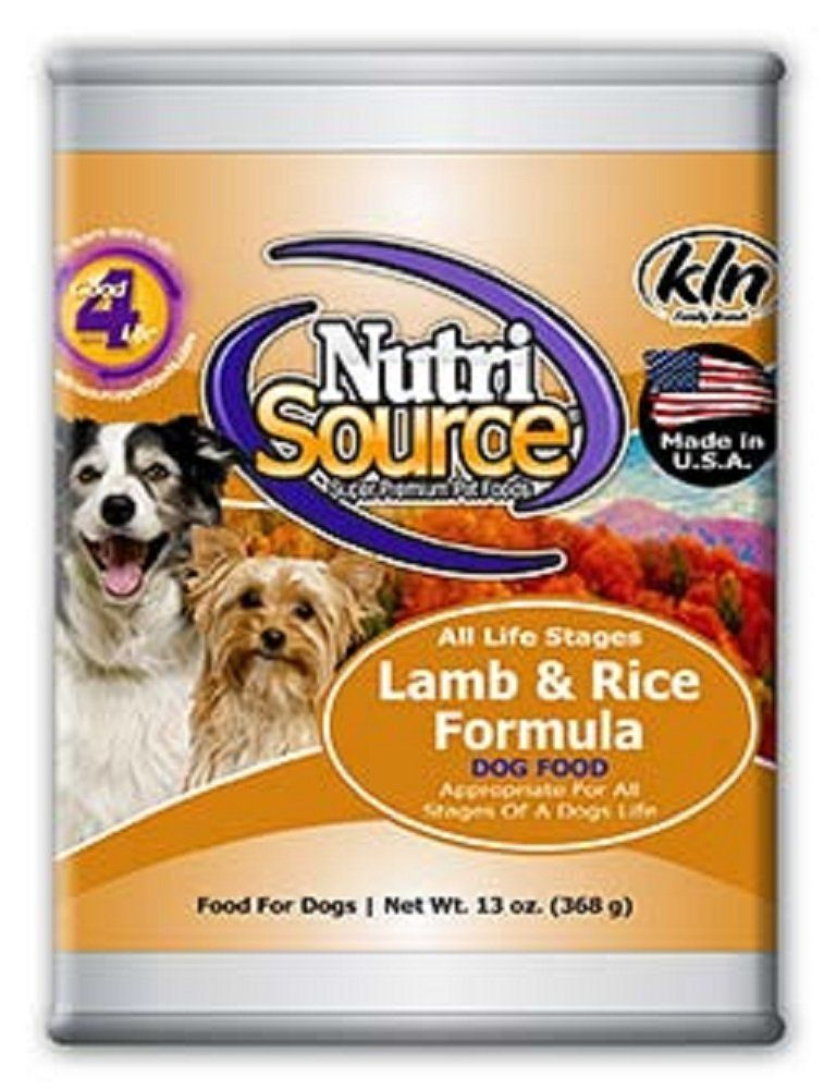 NutriSource Lamb and Rice Canned Dog Food 12/13 oz Case by